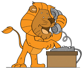 Lion On Phone